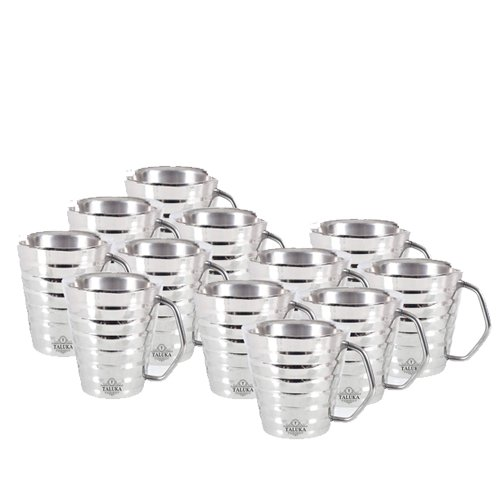 TALUKA Stainless Steel Ribbed Conical Coffee and Tea Set of 12, 150 ml Hotel Home Restaurant Stainless Steel Coffee Mug