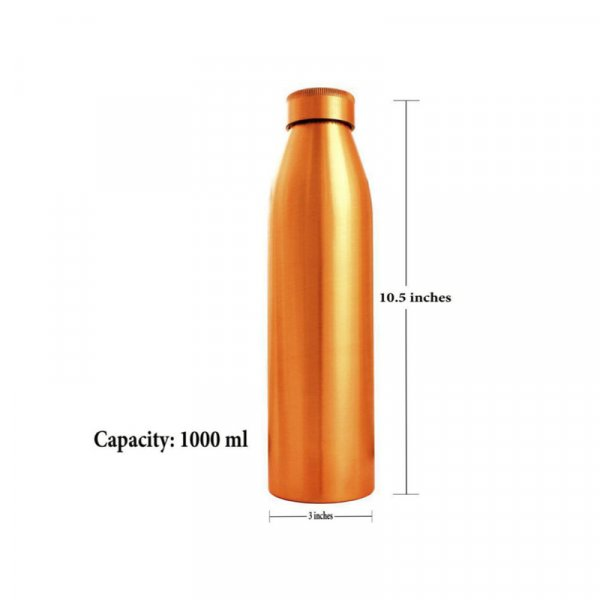 Seam Less Copper Water Bottle, Copper Bottles for Water 1 Liter,100% Pure Copper Water Bottles Leak Proof Copper Bottles 1 Litre 1000 ml