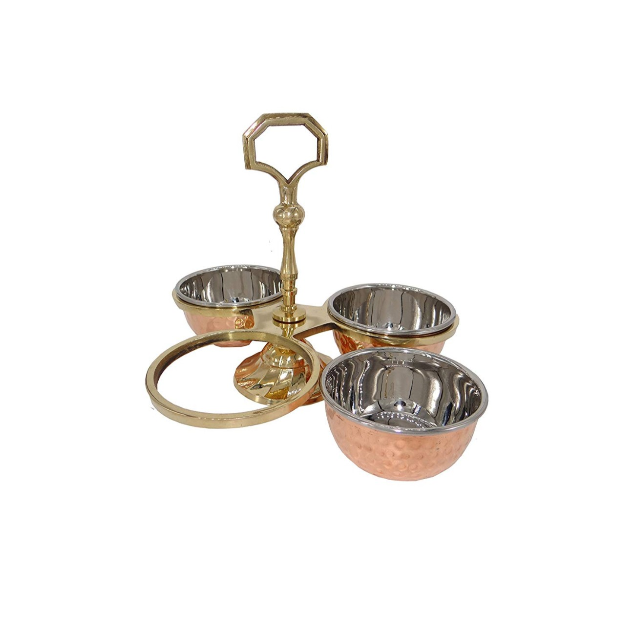 3 Compartment Set Steel Copper 3 Bowl Pickle, Mouth Freshener Serving