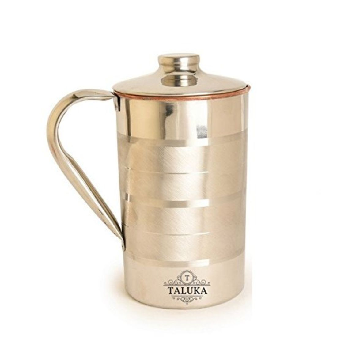 Handmade Stainless Steel Copper Water Jug 2000 ML With 1 PC Steel Copper Glass 350 ML Water Storage Tableware Drinkware