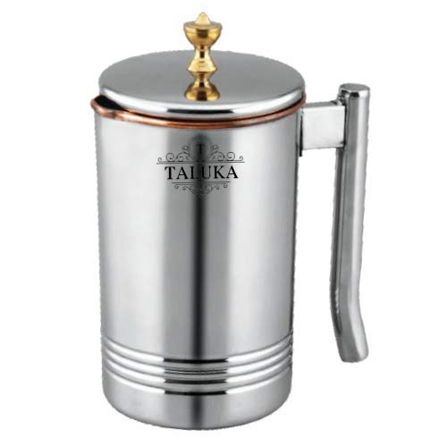 Taluka Copper Stainless Steel Jug Pitcher with Brass Knob, Storage and Serving Water Home Hotel Restaurant (1500 ML)