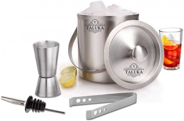 Taluka Bar Accessories Ice Bucket 1500 ML | Ice Tong | Peg Measure | Pourer | Set of 4 Pieces