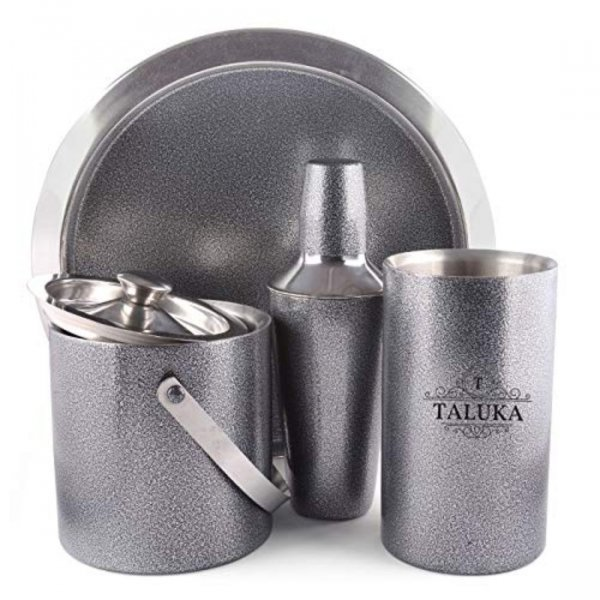 Exclusive Granite Finish Stainless Steel Cocktail 4 pcs Bar set | Cocktail shaker 750 ml | Ice Bucket Double Wall | Wine Cooler | Tray For Home Hotel Restaurant