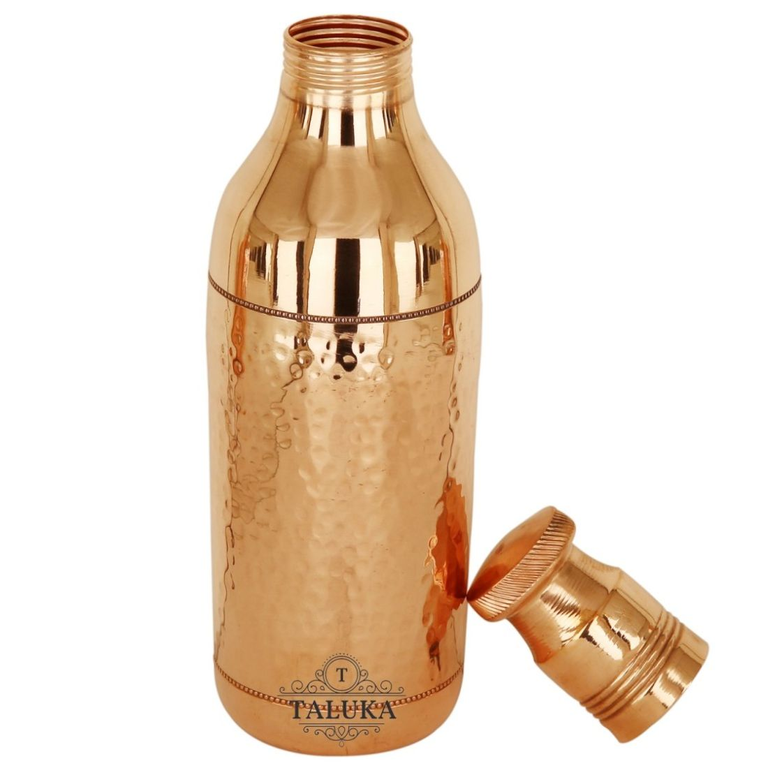 Pure Copper Hammered Water Bottle | 1700 ML Capacity | Serving Drinking Storage Water | Bar Hotel Set Of 2