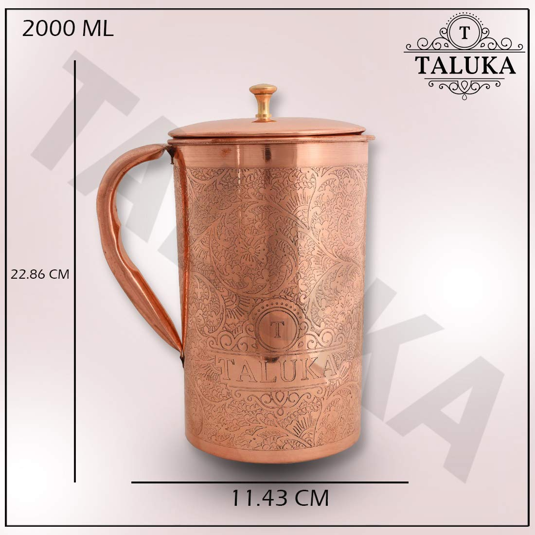 Taluka Pure Copper Embossed Water Jug Pitcher with Brass Knob 2000 ML Water Storage Hotel Home Restaurant (Size: Height 9 Inch x Dia 4.5 Inch)