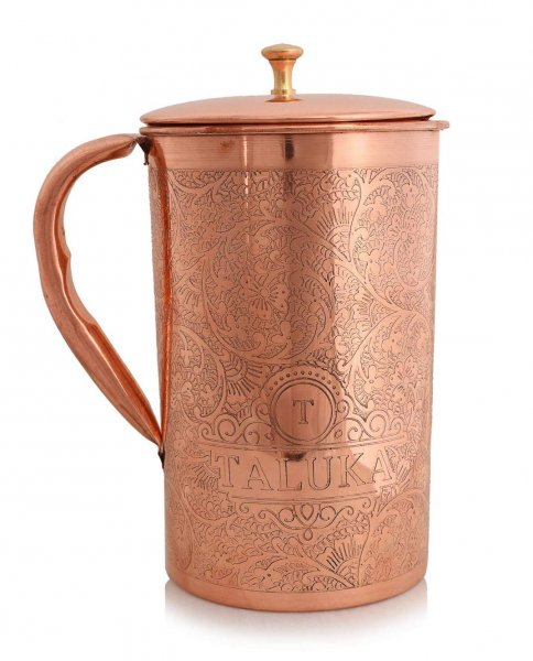 Taluka With T Logo Taluka Pure Copper Embossed Water Jug Pitcher with Brass Knob 2000 ML Water Storage Hotel Home Restaurant (Size: Height 9 Inch x Dia 4.5 Inch)