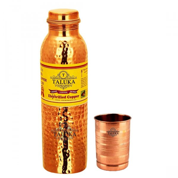 Copper Hammered Joint Free Water Bottle 1000 ML Set with 1 PC Glass Tumbler 300 ML-for Storage Drinkware