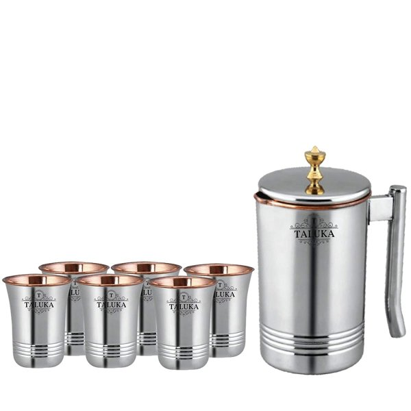 Taluka Copper Stainless Steel Jug Pitcher with Brass Knob, Storage and Serving Water Home Hotel Restaurant (1500 ML) with 6 Copper Glass