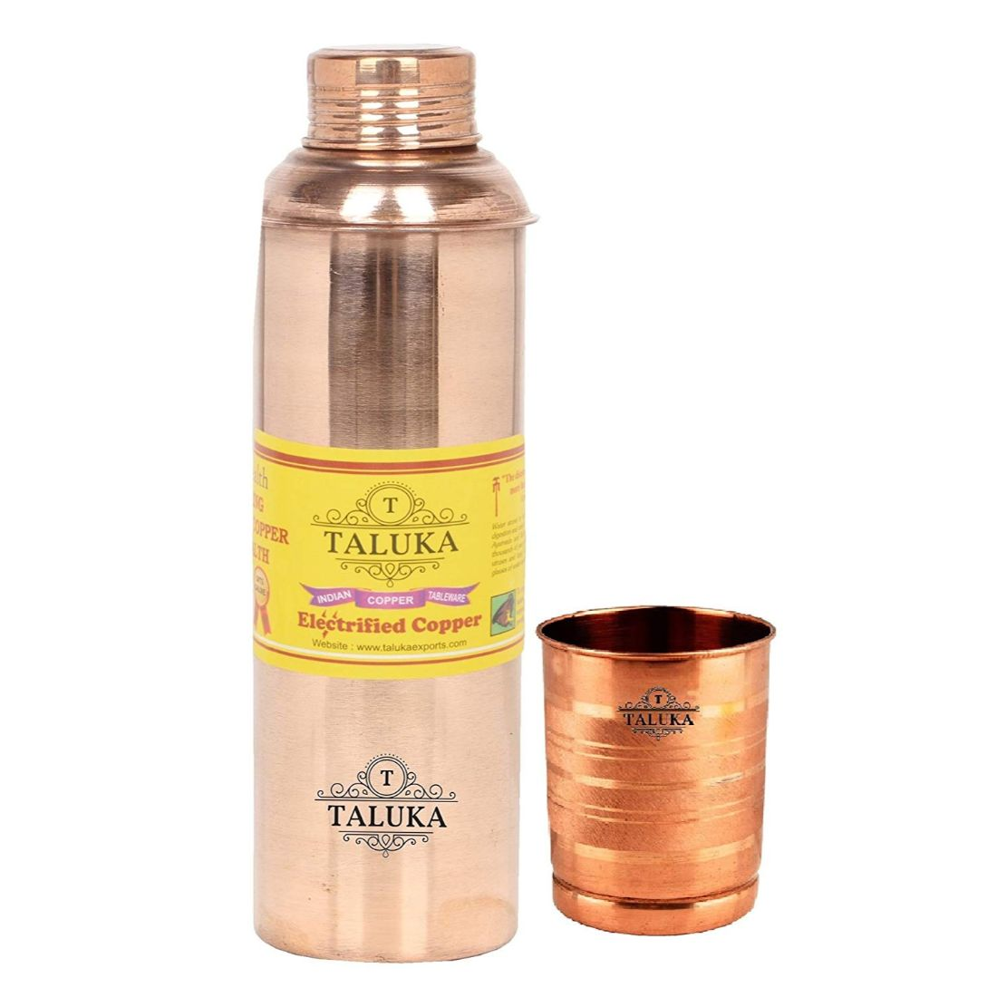 Handmade Copper Water Bottle 800 ML & 1 PC Glass Tumbler 300 ML Each- Travel Bottle Storage Water Tableware