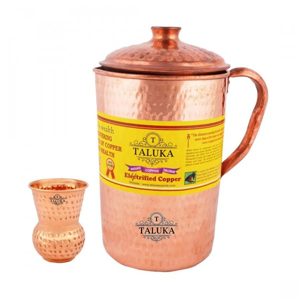 Handmade Pure Copper Hammered Jug 2000 ML with Copper Round Bottom Hammered Water Glass 300 ML 1 PC Good Health Benefit