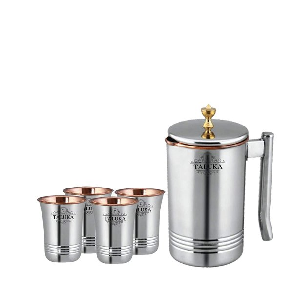Taluka Copper Stainless Steel Jug Pitcher with Brass Knob, Storage and Serving Water Home Hotel Restaurant (1500 ML) with 4 Copper Glass