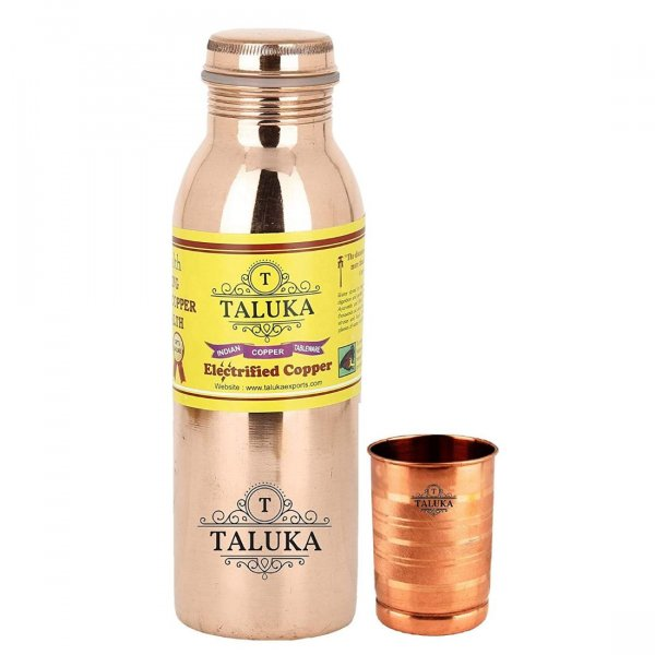 Pure Copper Joint Free & Leak Proof Water Bottle 1000 ML With 1 PC Copper Glass Cup Tumbler
