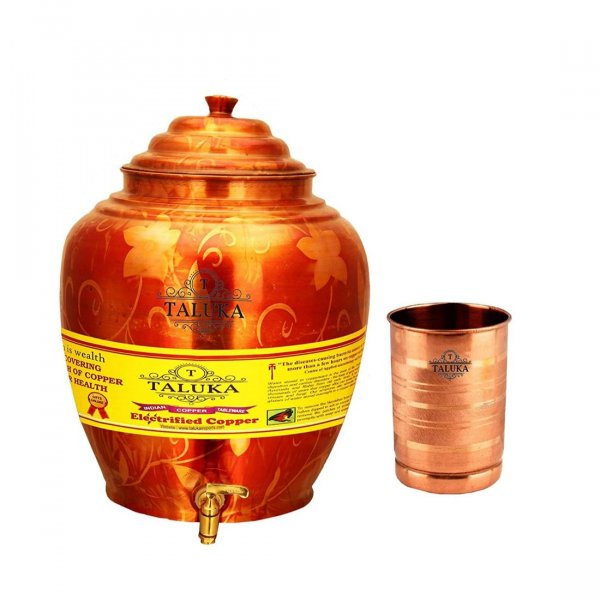 Pure Copper Water Pot Belly Design 16 Liter With 1 PC Copper Glass 300 ML for use Storage Drinking Water Restaurant HoteL