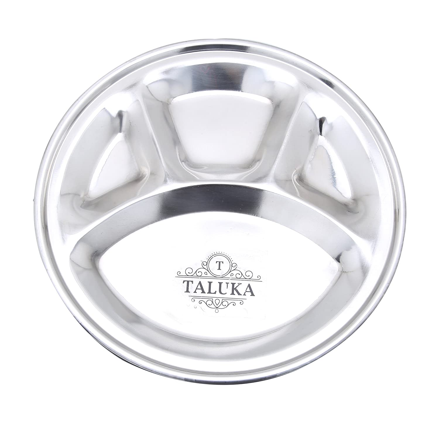 Taluka (10.5 x 0.6 Inches Approx) Stainless Steel Dinner Plate Food Plate for Home Use Hotel Restaurant