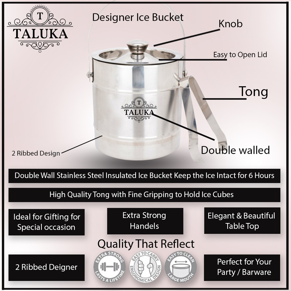 Stainless Steel Ice Bucker 1500 ML With Ice Tong Bar Ware Restaurant Home Gift Purpose