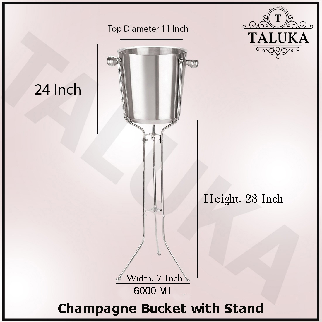"(11"" X 24"" Inches Approx) Handmade Royal Ethnic Stainless Steel Champagne Bucket / Ice Bucket With Stand Wine Cooler"