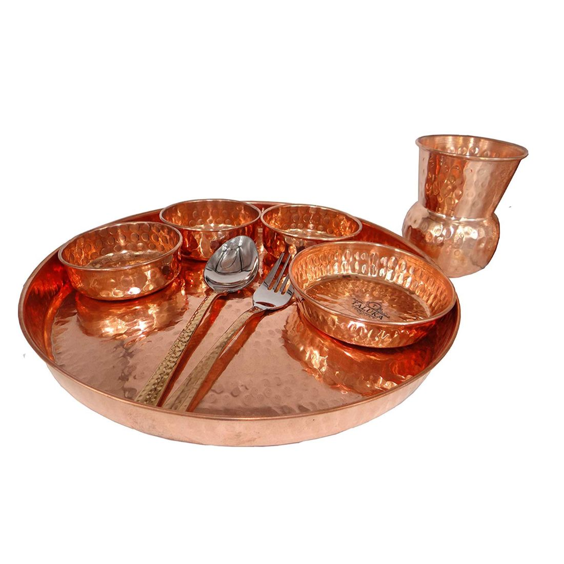Handmade Pure Copper Hammered 8 Piece Dinner Thali Set For Home Restaurant Hotel Use