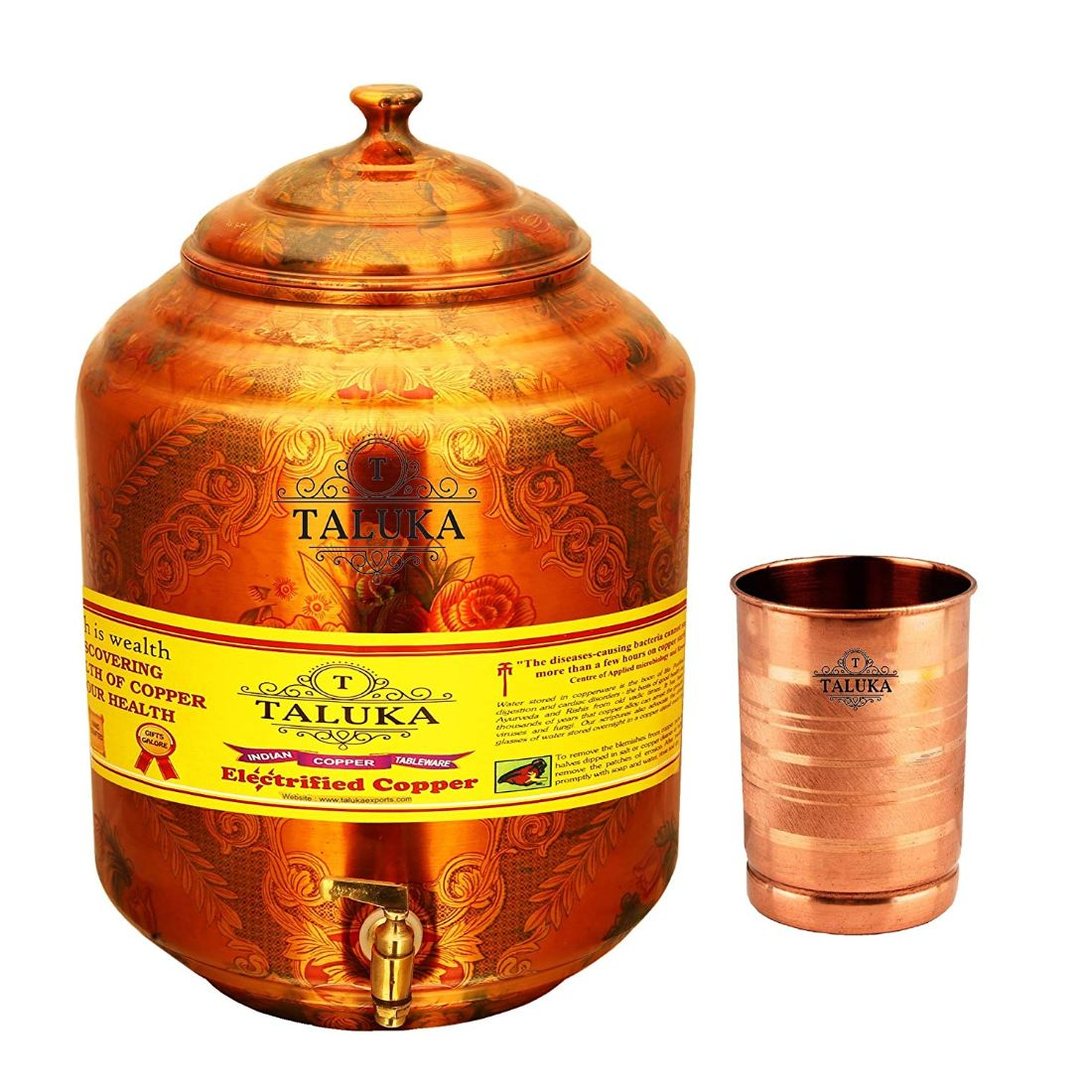 Pure Copper Water Pot Dispenser Water Tank Water 17 Liter with 1 PC Copper Glass 300 ML For Use Storage Tableware