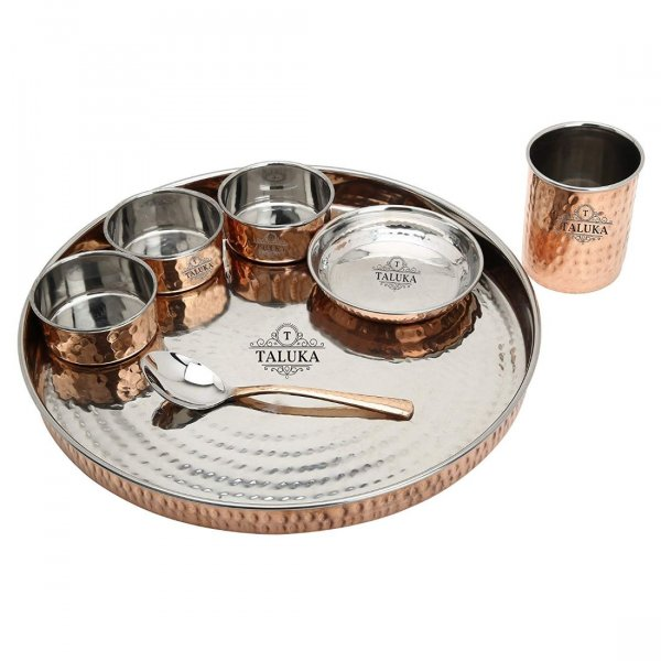 Copper Steel Hand Made Kitchen Plate/Thali Dinner Set of 7 (1 Thali, 3 Bowls, 1 Pudding Bowl, 1 Spoon, 1 Copper Glass) Hotel Home Dinnerware Gifting Purposes