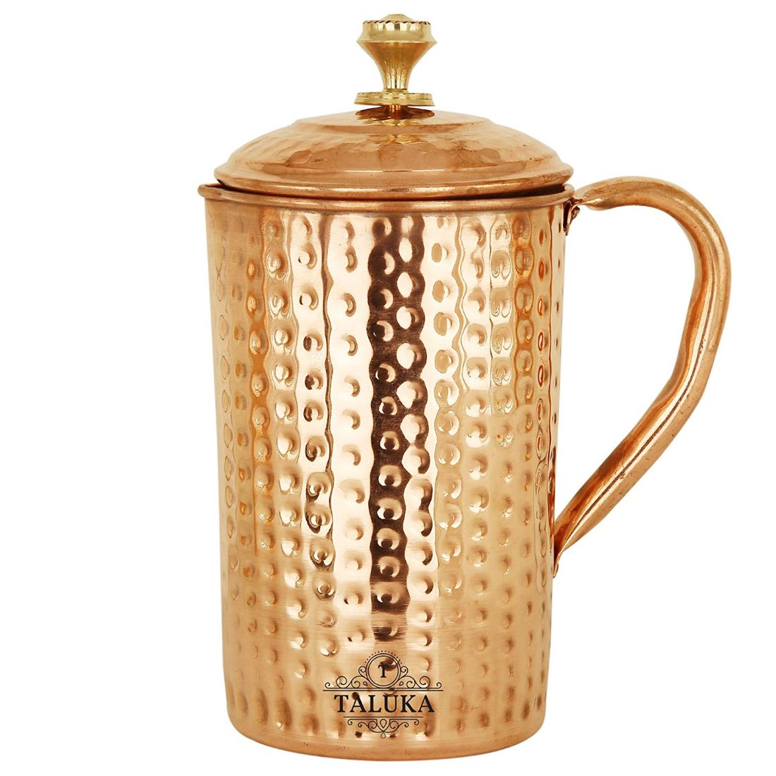 Copper Hammer Jug Pitcher 1.7 Liter With Water Pot 12 Liter Tank 1 Glass 350 ML