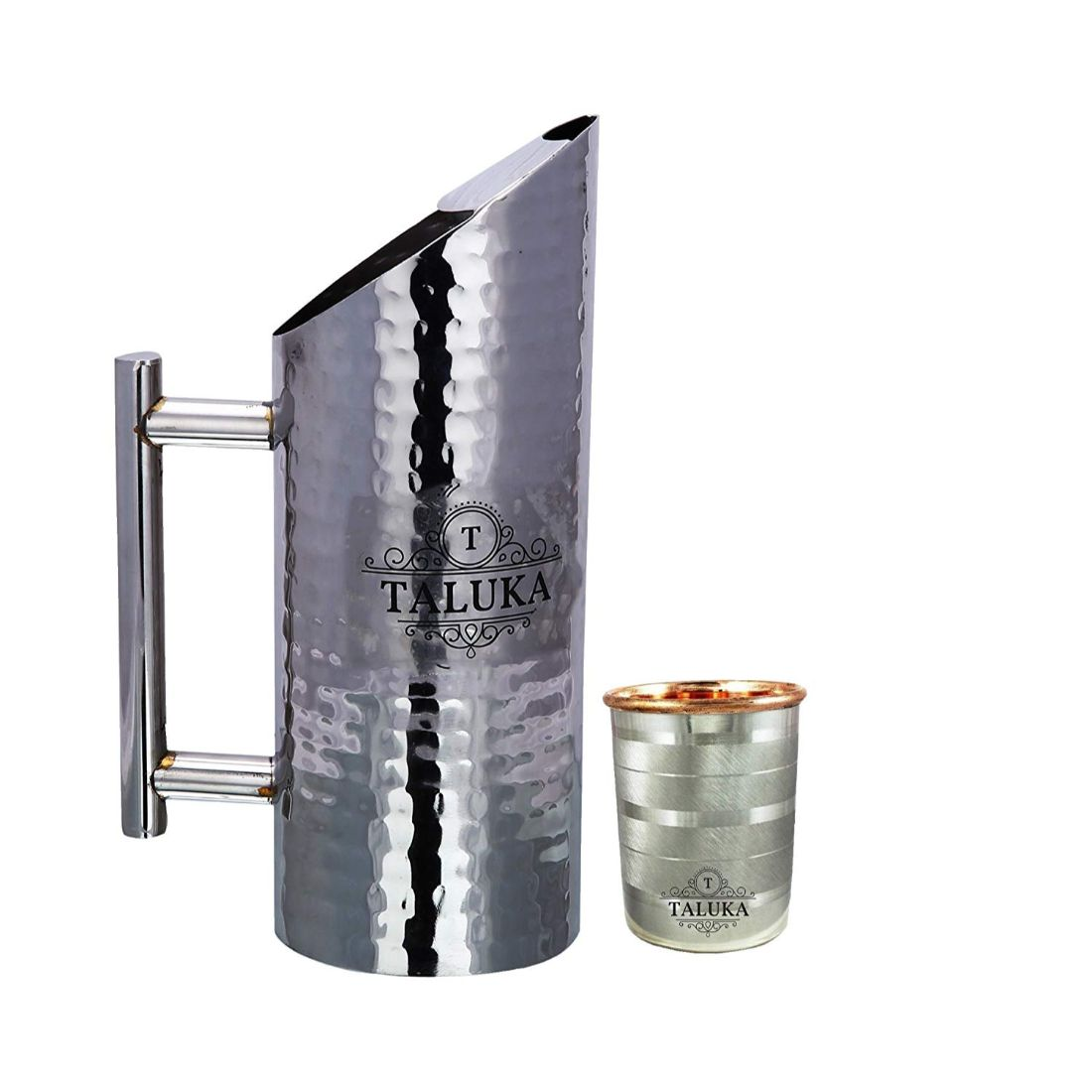 Stainless Steel Jug Hammered Pitcher Pipe Handle 1500 ML With Copper Steel Glass Tumbler Drinkware 350 ML 1 PC
