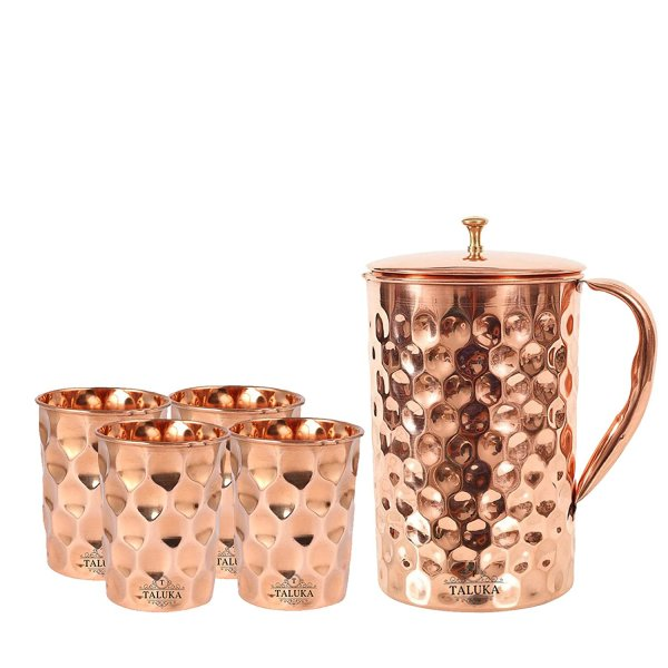 Taluka Copper Diamond Design Set of Jug 1500 ML with 4 Glass, Copper Drinkware Gift Set, Use Hotel Home Restaurant