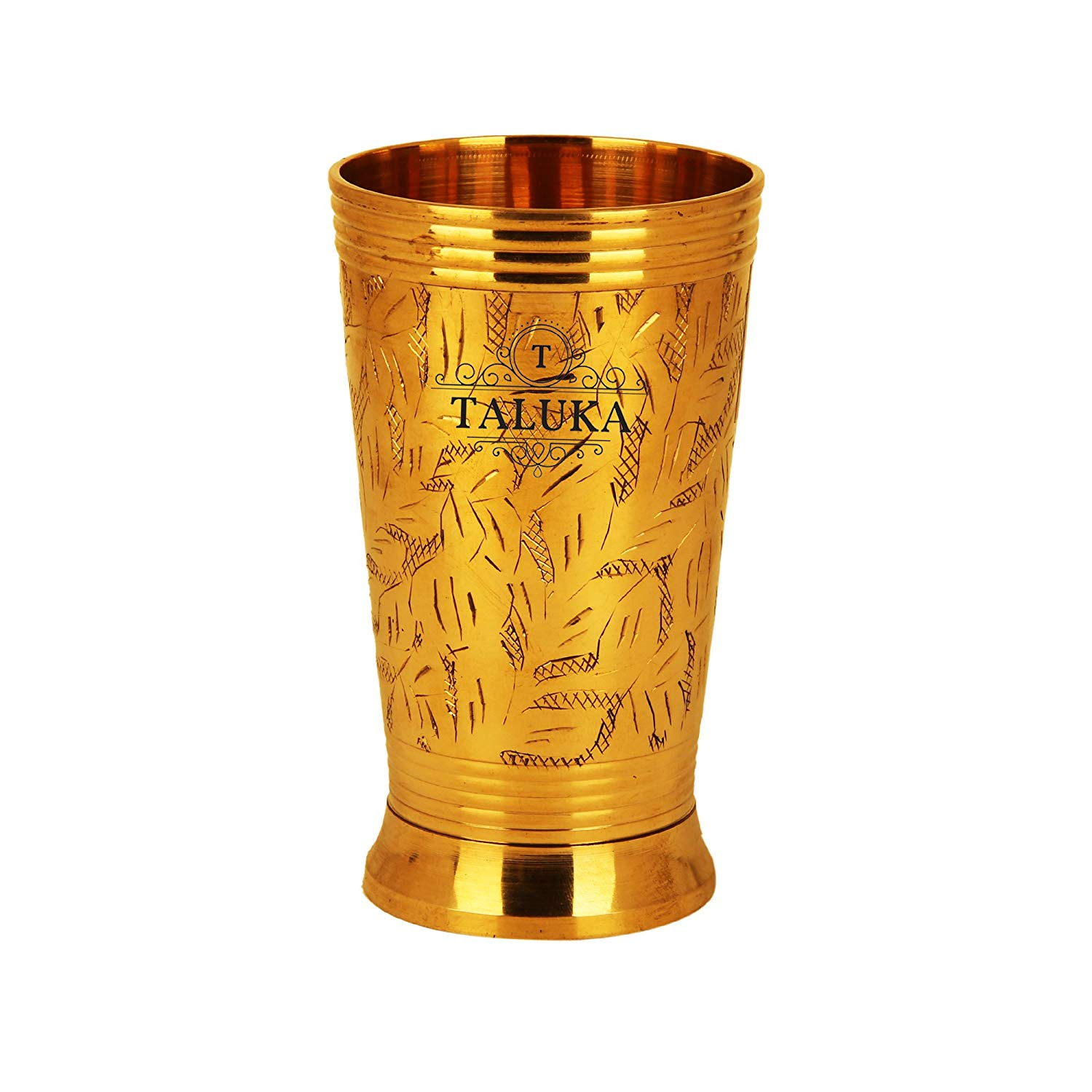 Brass Leaf Design Water Glass Tumbler Cup 300 ML For Drinking Serving Purpose