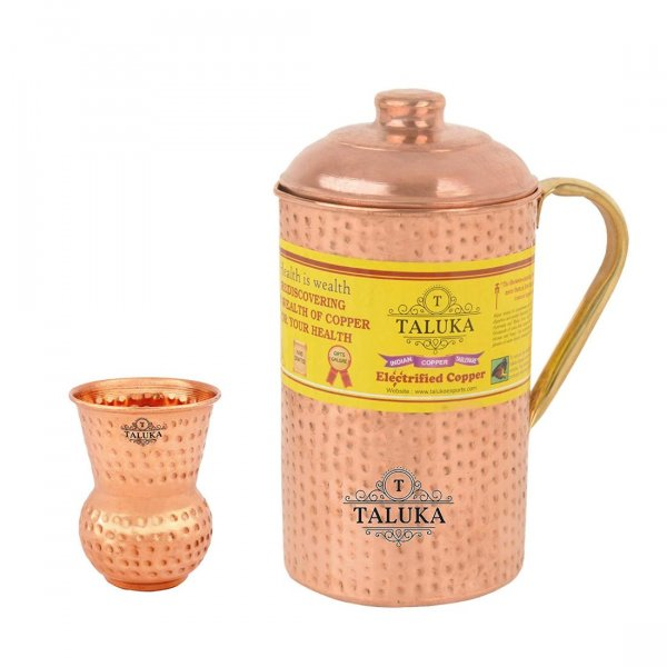 Handmade Copper Hammered Water Jug with Brass Handle 2000 ML with 1 PC Glass 300 ML -Serving Storage water