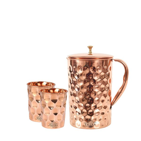 Taluka Copper Diamond Design Set of Jug 1500 ML with 2 Glass, Copper Drinkware Gift Set, Use Hotel Home Restaurant