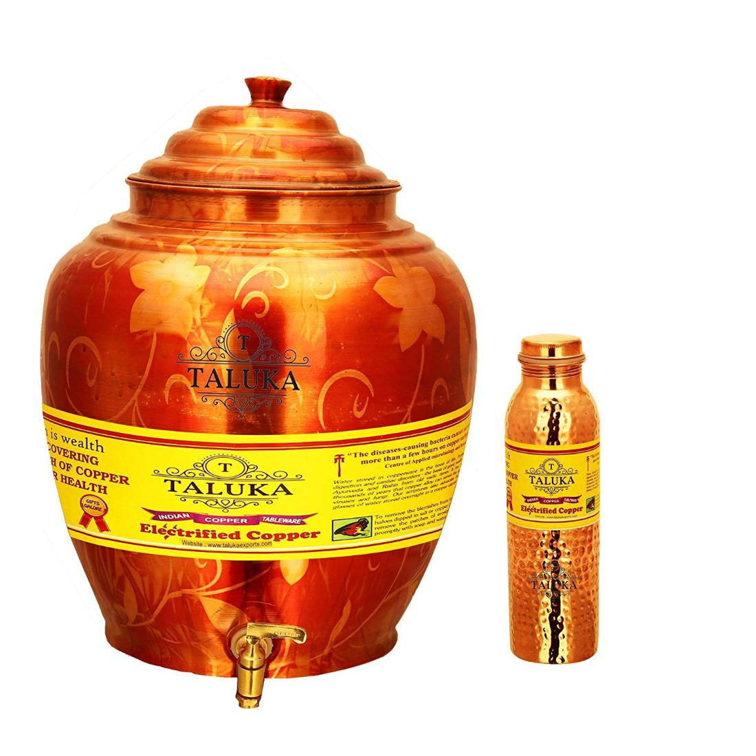 Belly Design Copper Water Pot 16 Liter With 1 PC Copper Hammer Water Bottle Joint Free Leak Proof 1000 ML for use Storage Water
