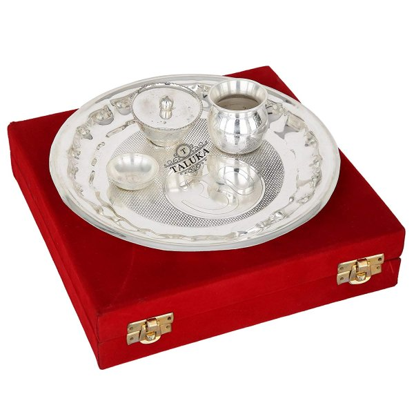 Decorative Om Design Silver Plated Pooja Aarti Thali - 4 Pieces with Gift  Box