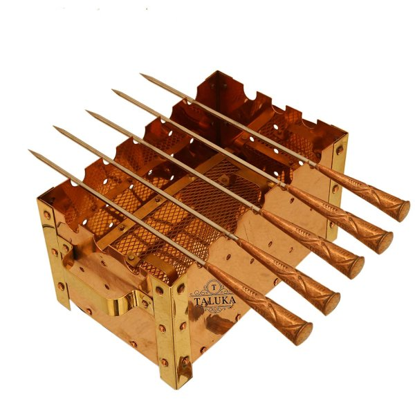 "Pure Copper Paneer Tikka Rectangular Barbecue Grille With 5 Skewers | For Paneer Chicken Tikka Dish Garden Outdoor Picnic Use. (10"" x 5"" Inches)"