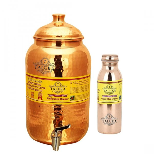Pure Copper Handmade Water Pot Tank Dispenser 2000 ML & 1 PC Copper Bottle Water Bottle Joint free 1000 ML