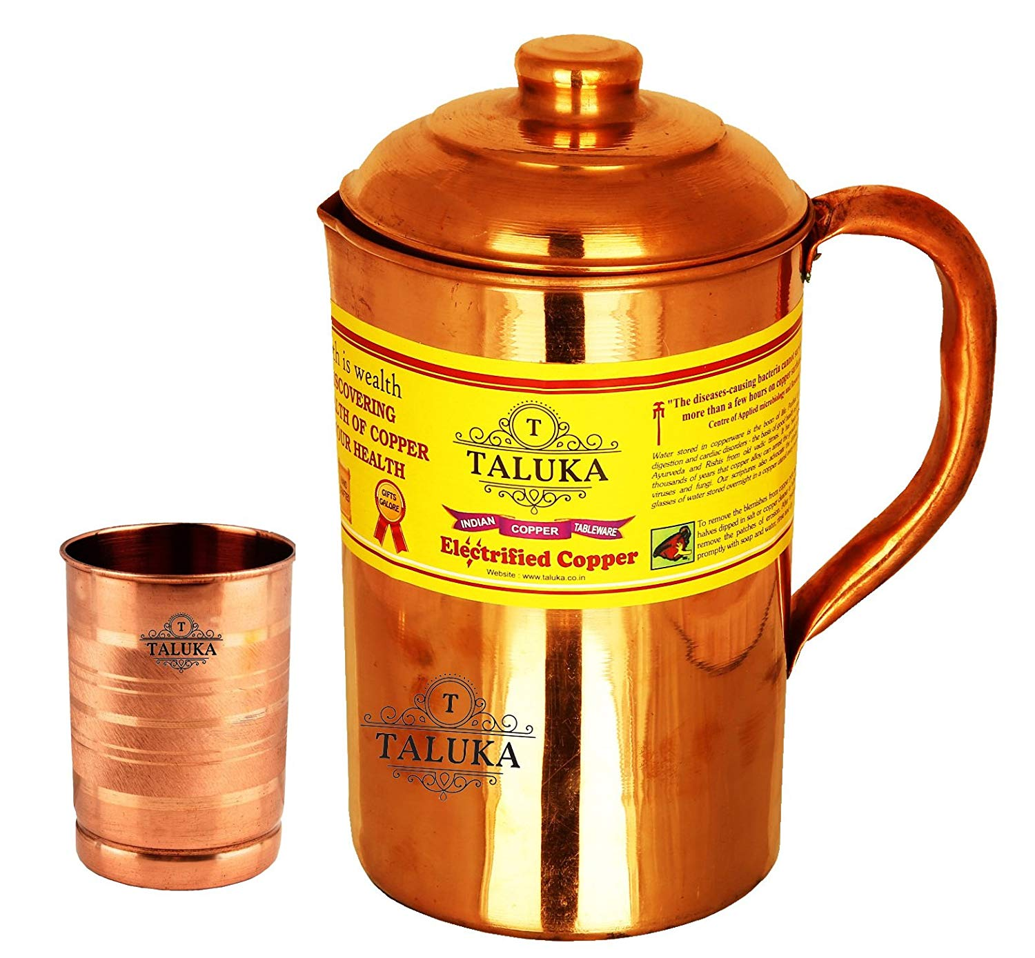 Handmade Pure Copper Jug Water Pitcher 1500 ml with 1 PC Copper Glass 300 ML Water Storage Tableware Drinkware