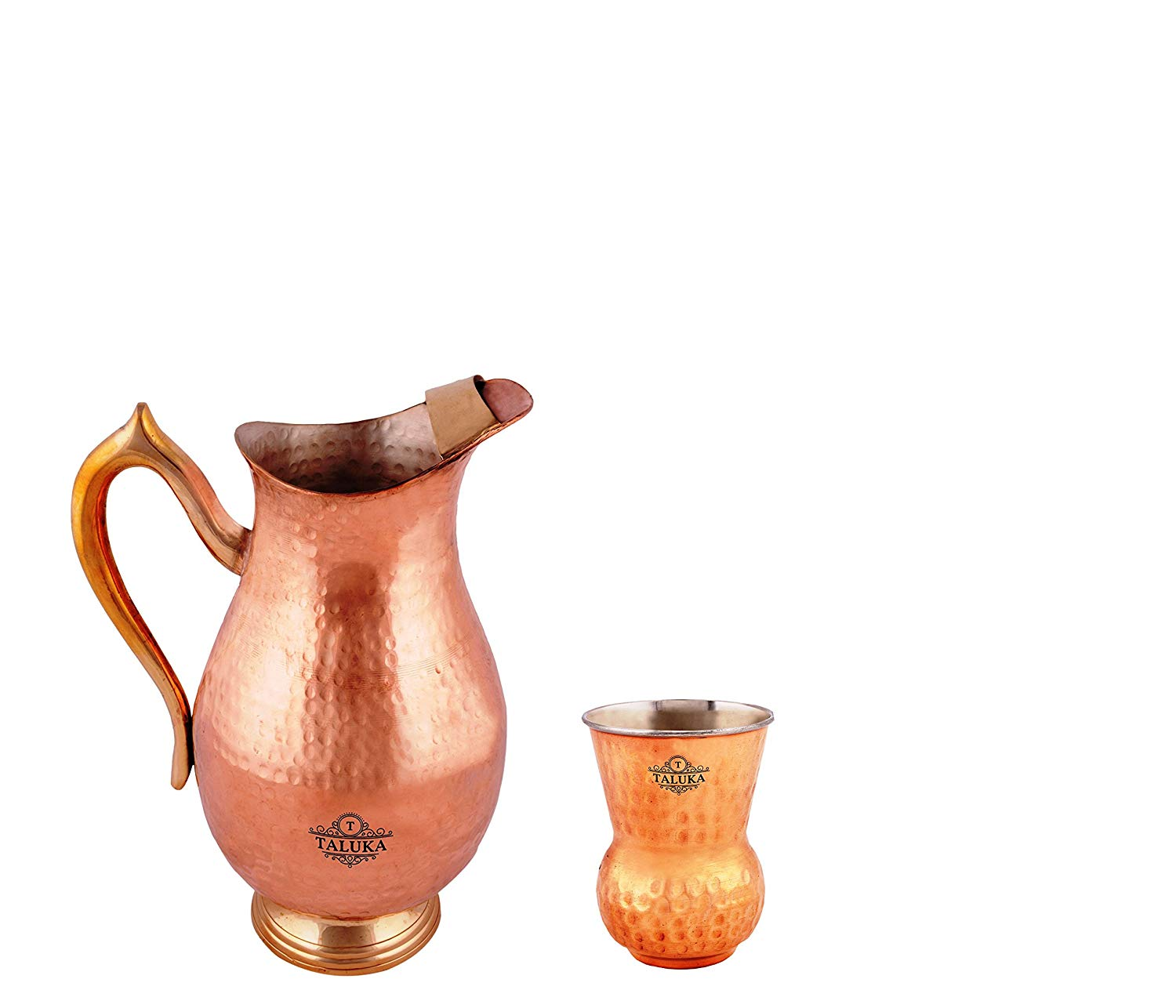 Pure Copper Water Jug 2000 ML With 1 PC Copper Steel Round Bottom Hammered Glass 300 ML For Health Benefits