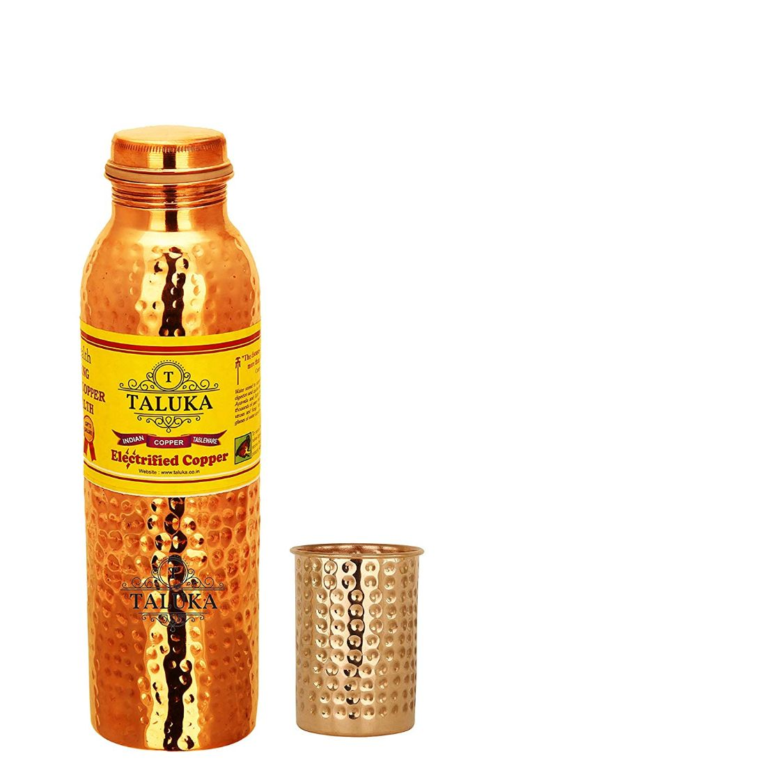 Handmade Hammered Copper Leak Proof Water Bottle 1000 ML with 1 PC Hammer Glass 300 ML