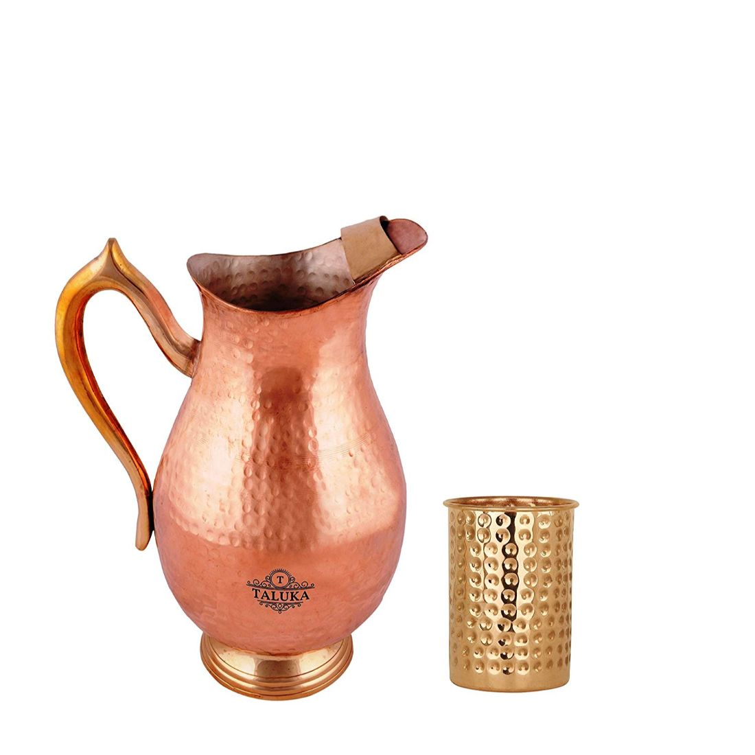 Pure Copper Water Jug 2000 ML With 1 PC Copper Hammered Glass 300 ML For Health Benefits