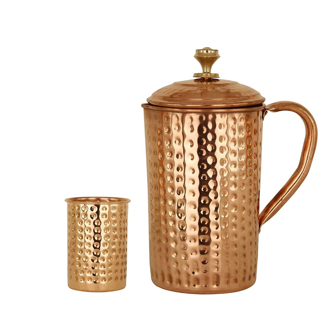 Copper Hammered Set of 1 Jug Pitcher 1700 ML with 1 Glass 300 ML - Storage Drinking Water Home Hotel Restaurant Tableware Drinkware