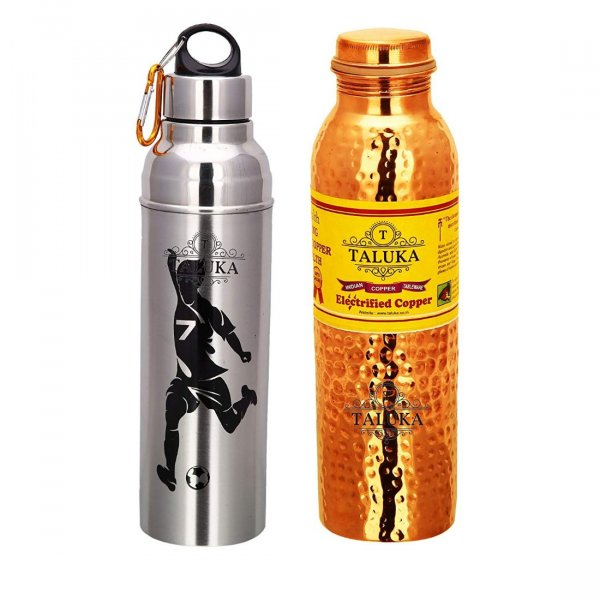 Handmade 1000 ML Hammered Copper Bottle Water With Stainless Steel Insulated Hot & Cold water Bottles (1000 ML)