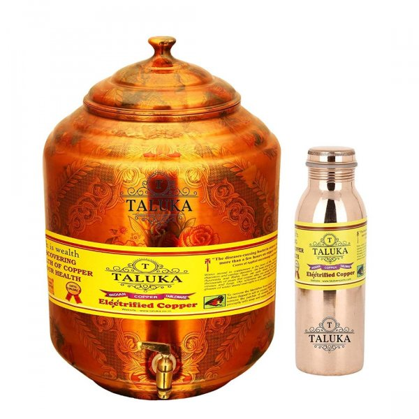 Handmade Pure Copper Water Pot Tank Dispenser 17000 ML & 1 PC Copper Water Bottle Joint free - Leak Proof Bottle 1000 ML