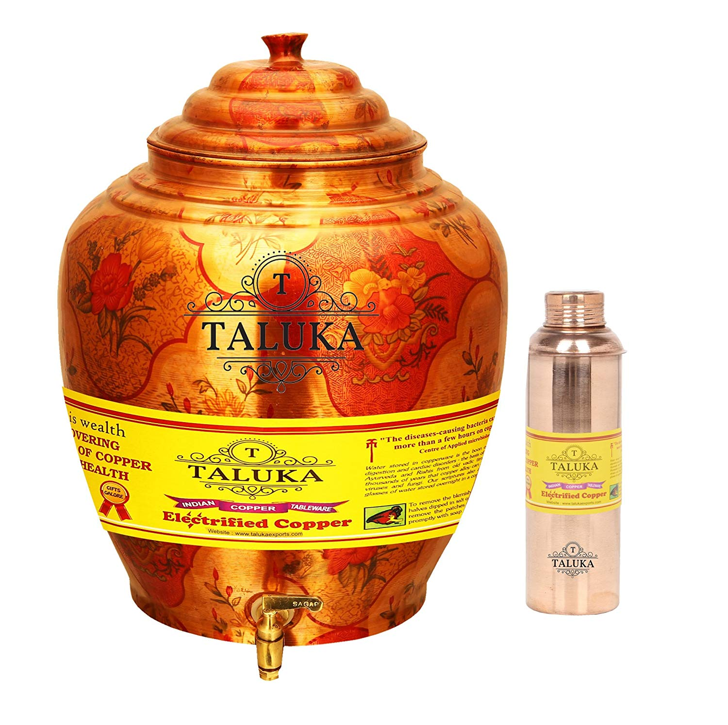 Copper Belly Design Water Pot Dispenser 16 Liter With 1 PC Copper Bottle 800 ML for use Storage Drinking Water