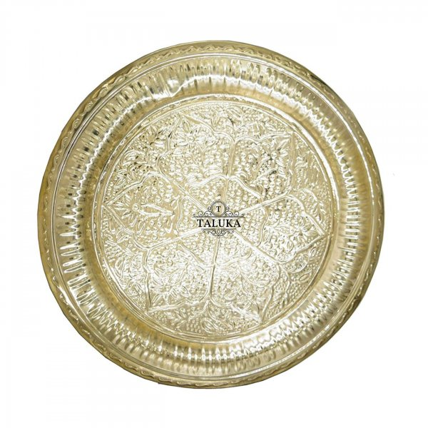 Brass Embossed Tray Serving Tray, Plate, Charger Round Shape Royal Look Platter