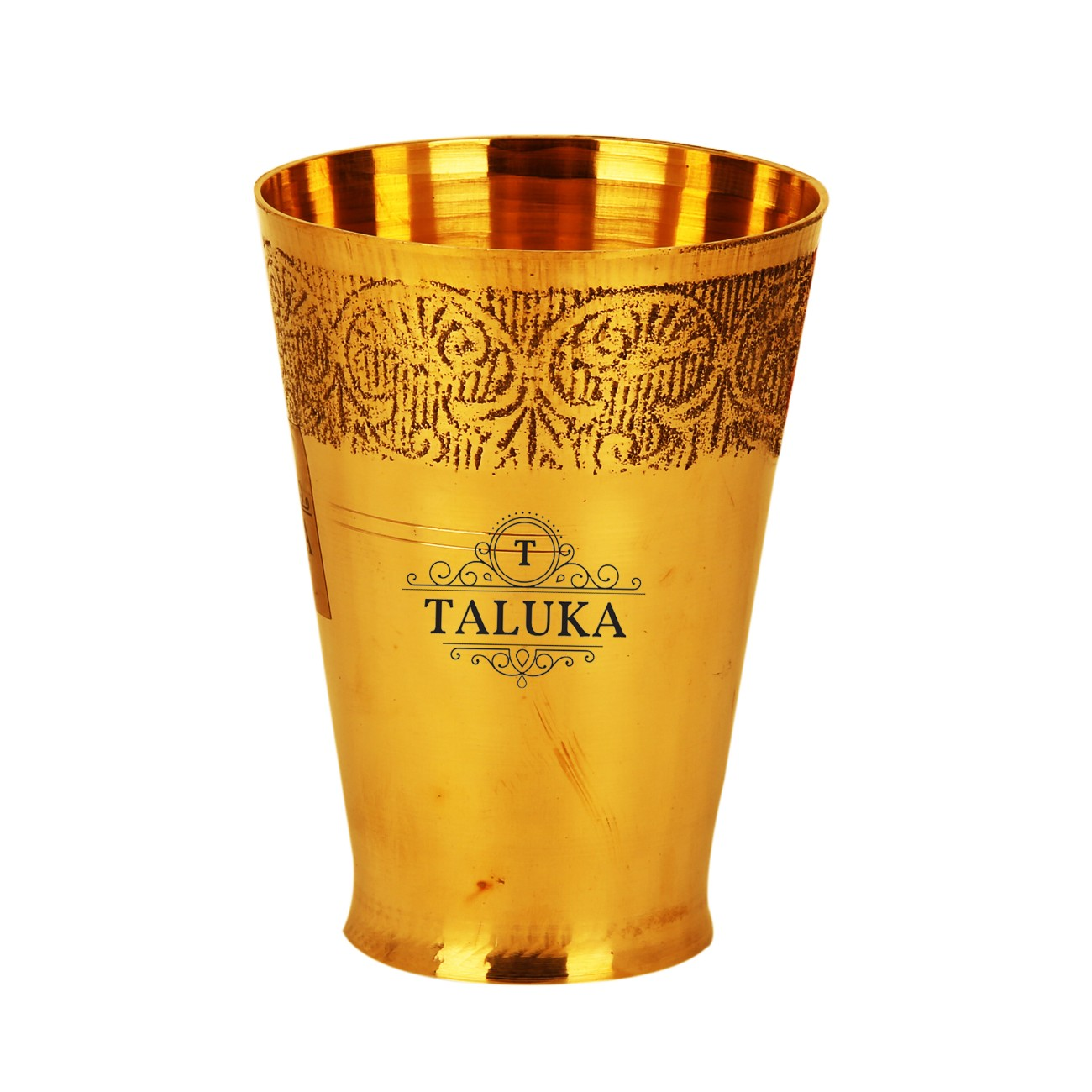 Brass Flower Design Water Glass Tumbler Cup 300 ML For Drinking Serving Purpose
