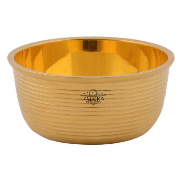 Brass Full Ribbed Serving Bowl Katori For Tableware Restaurant Home Hotel 350 ML