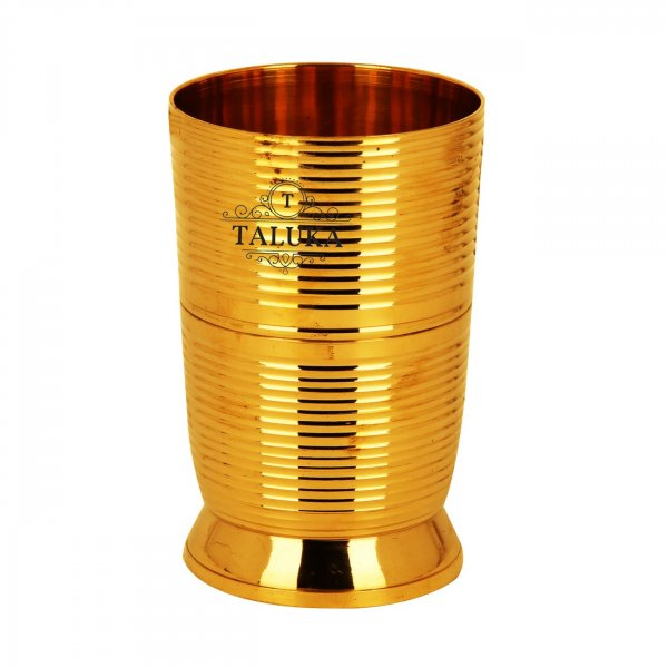 Brass Lining Design Water Glass Tumbler Cup 300 ML For Drinking Serving Purpose