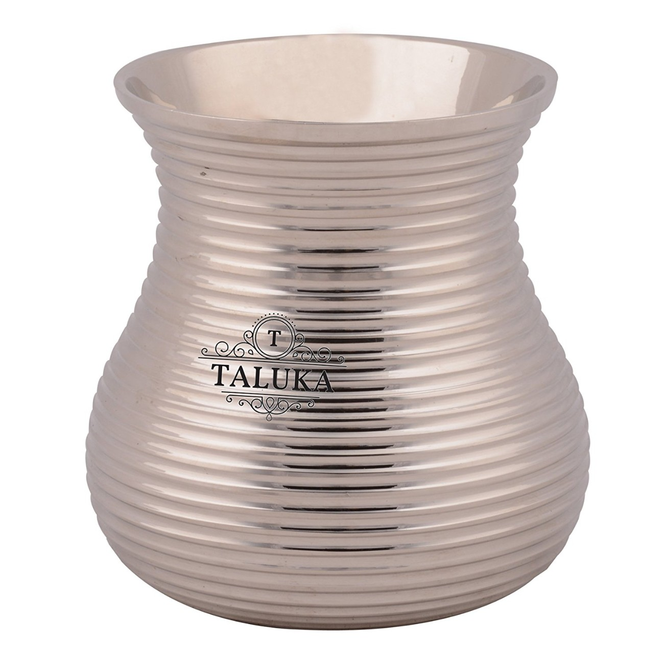 Brass Nickel Plated Bottom Ribbed Water Glass Tumbler Cup 300 ML For Drinking