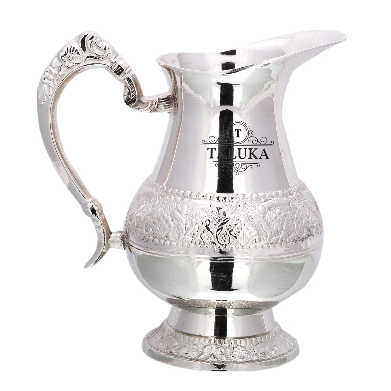 Brass Nickel Plated Jug Water Pitcher For Storage 1500 ML For Home Hotel Gifting Purpose