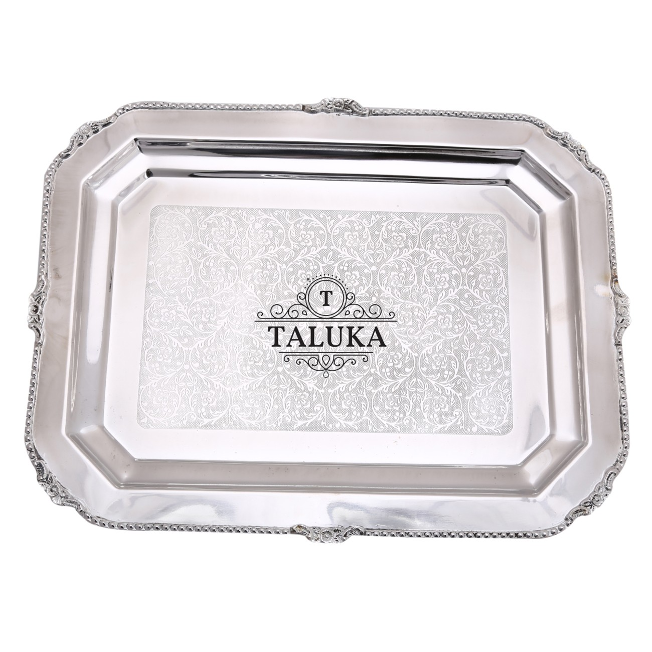 Brass Nickel Plated Tray Serving Tray/Plate / Charger Rectangular Shape