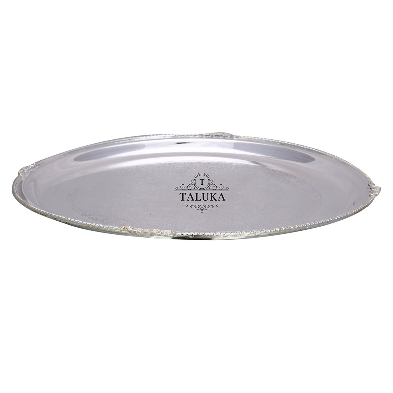 Brass Nickel Plated Tray Serving Tray/Plate / Charger Round Shape Elegant