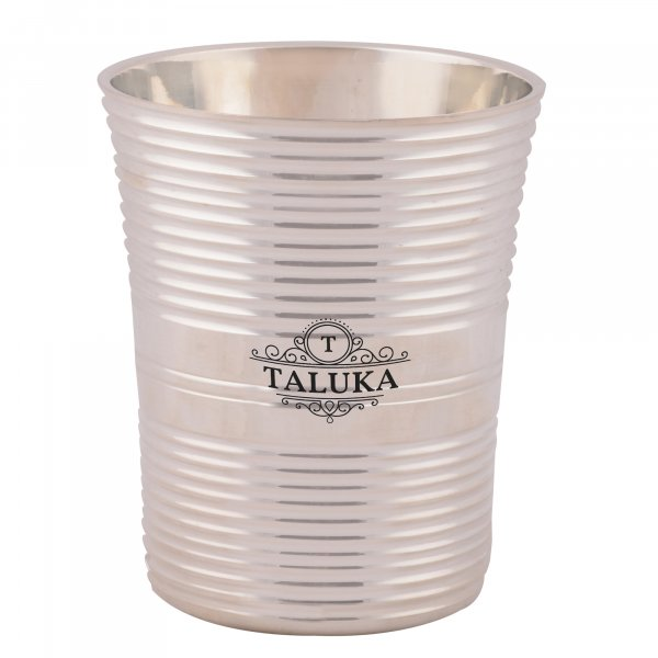 Brass Silver Coated Full Ribbed Water Glass Tumbler Cup For Drinking Serving